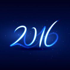 Tarjeta de feliz año nuevo 2016 con estilo neon Vector Gratis