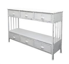 Industrial Locker Hall Table / Console Table With 6 Storage Drawers (White)
