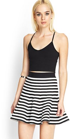 $16, Striped Knit Skater Skirt by Forever 21. Sold by Forever 21. Click for more info: http://lookastic.com/women/shop_items/52220/redirect