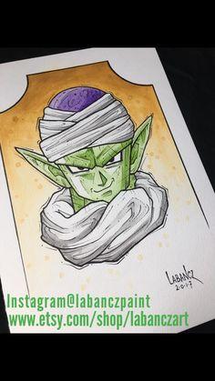 Watercolor / black marker pen DBZ fanart! Piccolo! Instagram Tibor Labancz / @labanczpaint  www.etsy.com/shop/labanczart #painting #art #artwork #dbz #dragonball #dragonballz #dragonballsuper #piccolo #songoku #vegeta #kamehameha #watercolor #watercolorpainting #markers #aquarelle #gifts #style #homedecor #drawing #shopping #etsy #etsyseller #etsyshop #etsyuk