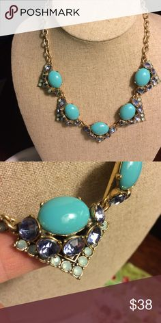 Stella & Dot Rory Necklace This delicate turquoise necklace is set w blue & opal rhinestones for a look that can be worn w jeans or a party dress. Retired Stella & Dot Jewelry Necklaces