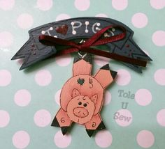 Pig magnet pin I Love Pigs by ToleUSew on Etsy