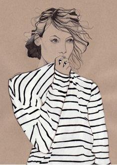 Fashion Illustration - Fashion Drawing - Daphne van den Heuvel #stripe tee