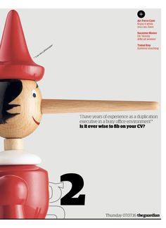Guardian g2 cover: Is it ever wise to fib on your CV?