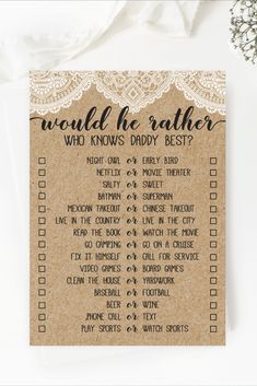 Rustic Lace Would He Rather Game Template Baby Shower Quiz, Lace Baby Shower, Bridal Shower Games, Baby Shower Games, Sweet 16 Shirts, Cute Date Ideas, Cute Love Memes, 60th Birthday, Birthday Ideas