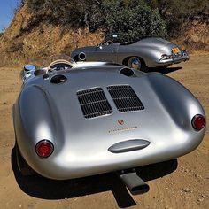 "• Morning trip with the ""Little Bastard"". Porsche 550 ""Spyder"" VS Porsche 356 •  By @spikeferesten #littlebastard #usa #morning #trip #love #ferrari #mercedesbenz #lamborghini #bugatti #porsche #carporn #vintage #firstpost #first #elegance #lux #luxury #luxurycar #luxurylife #f4f #fashion #cars #londoncars #blacklist #newyork #autoporn #automotive #instacar #follow #carvintage"