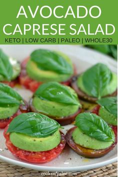 Heirloom Tomato Avocado Salad - a vegan take on Caprese salad. I don't know that I would eat this as is but I'm pinning it to remember in case I want to make a Caprese sandwich! Raw Food Recipes, Appetizer Recipes, Cooking Recipes, Healthy Recipes, Whole30 Recipes, Bbq Appetizers, Avocado Recipes, Lunch Recipes, Healthy Appetizers