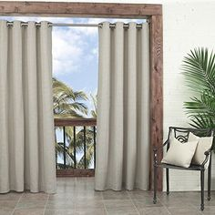 Parasol Key Largo Indoor/Outdoor Curtain Panel, 52 by 95-Inch, Oatmeal PARASOL