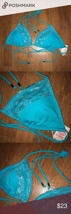 S Women's/Juniors PINK By VS Bikini Top - NWT Items are at their rock bottom prices, FIRM! To receive a discount you must bundle!   CONDITION: New with tag   BRAND: Victoria's Secret pink   SIZE: small   DETAILS: ice blue with silver detail. Lace bust trim with adjustable tie neck and back. Metal endings on strings. Padded but not push-up.   FLAWS: N/A  #VSPINK #Swim #Top #AthensOH #forsale  #Fashion #Style #TopShopStyles #Posh #CCS  @CksClosetOverload  Item No. PINK Victoria's Secret Swim…