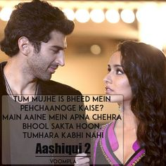 Aashiqui 2 Dialogues and Quotes - Voompla Romantic Dialogues, Movie Dialogues, Hindi Qoutes, Quotations, Movie Quotes, True Quotes, Bollywood, Lovers Quotes, Romantic Poetry