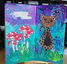 Helen Nichols on THE DYAN REAVELEY SOCIETY OF ART JOURNALING Gateway Group. First spread in my dyalog complete, I had lots of fun. Paint colours are polished jade, crushed grape and vibrant turquoise. Ink sprays a variety of cut grass, polished jade, vibrant turquoise, calypso teal. Cat done in melted chocolate and ground coffee. Toadstools coloured using distress markers. Stamp sets used,around the edge, doodle parts and puddy cat.