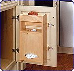 Door Mount Plastic Bag Holder for Kitchen Sink Base Cabinet - Constructed of Birch/Maple - Removable Polymer Tray - by Rev-A-Shelf | KitchenSource.com #kitchensource #pinterest #followerfind