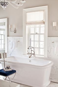 Lighting and colors Alisberg Parker Architects - bathrooms - half tiled walls, half painted walls, greige walls, greige bathroom walls, white marble backsplash,...
