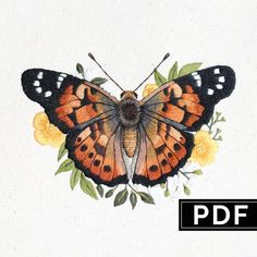 Butterfly: Hand Embroidery Pattern / Thread Painting Tutorial / PDF Digital Embroidery Guide / Learn How to Paint With Thread Diy Embroidery Patterns, Bee Embroidery, Butterfly Embroidery, Modern Embroidery, Vintage Embroidery, Pdf Patterns, Butterfly Pattern, Machine Embroidery, Diy Broderie