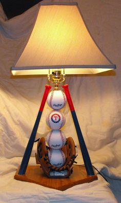 Ultimate Rangers Baseball Table Lamp by Midwestclassiccrafts, $89.50. I may need this for Nolan's room.