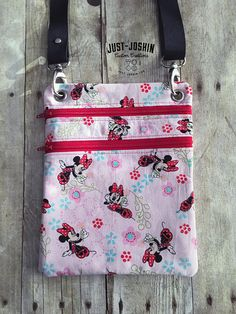 Available on @etsy Disney Minnie Mouse Cross-body Bag Disneyworld Zip and Go Hipster Fandom Purse - RTS Handmade Cute Custom Bag by JustJoshinCreations #etsyfinds #etsy #handmade