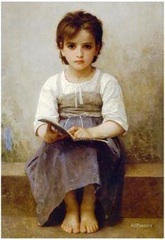William-Adolphe Bouguereau The Difficult Lesson Art Print Poster Juliste