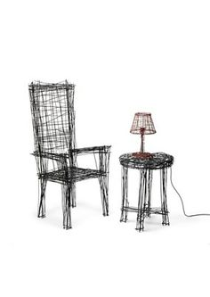Korean designer Jinil Park created a set of wire art furniture pieces that look like rough, two-dimensional sketches. Drawing Furniture, Cool Furniture, Furniture Sets, Furniture Design, Steel Furniture, 3d Sketch, Sketch Drawing, Parking Design, Dezeen