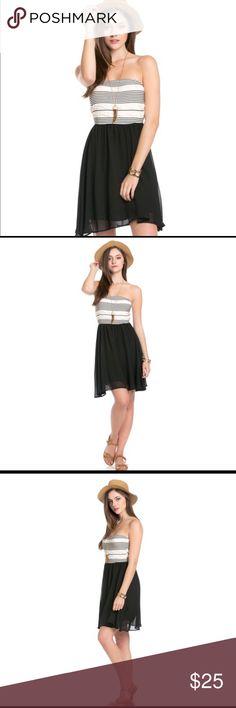 💥LAST ONE!💥CHIFFON MINI TUBE TOP DRESS IN BLACK Chiffon tube mini dress black. Made in USA.100% polyester Dresses Mini