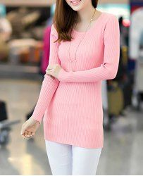 $7.86 Solid Color Simple Style Long Sleeves Acrylic Scoop Neck High Elasticity Sweater For Women
