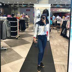 hijab outf Ootd Hijab, Hijab Chic, Casual Hijab Outfit, Hijab Style, Girl Hijab, Casual Outfits, Fashion Outfits, Hijab Fashion Casual, Korea Fashion