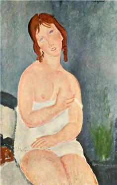 Amedeo Modigliani (1884 -1920) | Expressionism | Young Woman in a Shirt (The Little Milkmaid)