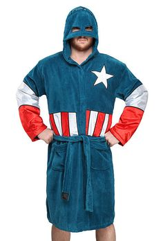 With this bathrobe you gone feel like a superhero and to be more specific Captain America. It has the shield on the back and a mask build in to the hood. Doctor Who, Captain America Hoodie, Ricky Dicky, Deadpool, Marvel Gifts, Peignoir, Wonder Woman, Marvel Fan, Unisex