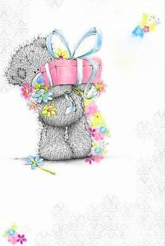 Birthday Gift Me to You Bear Card 50th Birthday Gifts, Birthday Greetings, Birthday Wishes, Birthday Cards, Happy Birthday, Tatty Teddy, Teddy Pictures, Cute Pictures, Teddy Hermann