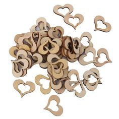 ROSENICE 50pcs Wooden Heart Shaped Slice Discs for DIY Crafts Mini Ornament Wedding Decor >>> Visit the image link more details.