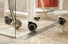 Wheelchair friendly shower threshold When I get to that point I want to be able to do a drivethru shower Ill just make sure my wheelchair is weatherproof Wheelchair Accessible Shower, Shower Wheelchair, Handicap Accessible Home, Ada Bathroom, Handicap Bathroom, Small Bathroom, Bathrooms, Bathroom Ideas, Shower Ideas