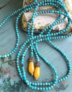 Anthropologie-Turquoise-CZECH-Glass-LARIAT-Bead-NECKLACE-Boho-w-QUARTZ-LONG-New
