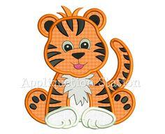 Zoo Baby Tiger Cub Applique Machine Embroidery Design Jungle