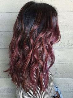 Dusty rose gold highlights on dark hair