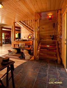 shaped log stairway half lug stringers and treads going up to loft boxcar siding on flat ceiling rounded log walls Log Cabin Kits, Log Cabin Homes, Log Cabins, Mountain Cabins, Knotty Pine Walls, Log Wall, How To Build A Log Cabin, Log Home Interiors, Log Siding