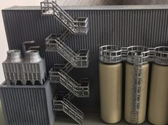 3D printed N Scale Staircase H80mm. Painted set of stairs to the roof and chiller roof of my new industrial building.