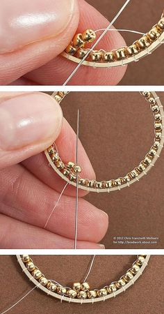 Tutorial for Inside Brick Stitch Hoop Earrings: Begin the Second Round of Beads . Tutorial for Inside Brick Stitch Hoop Earrings: Begin the Second Round of Beads Seed Bead Jewelry, Seed Bead Earrings, Beaded Jewelry, Handmade Jewelry, Hoop Earrings, Handmade Beads, Bridal Earrings, Crystal Earrings, Crystal Jewelry