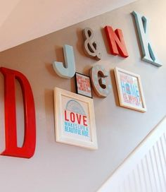 Family initials wall. Really love the small print, love makes life a beautiful ride. PERFECT for us!
