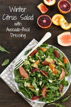 Winter Citrus Salad with Avocado-Basil Dressing - A healthful and flavor-packed salad. Serve as a light lunch, or add shrimp, chicken or chickpeas to turn it into a more substantial meal. via @foxeslovelemons