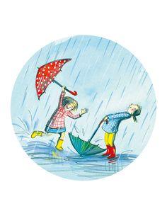 """Christine davenier tarjeta redonda (13 cm) """"Les filles sous la pluies"""" - Arret-sur-image.eu"""