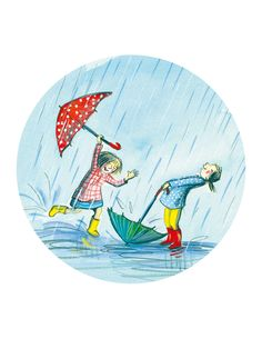 "Christine davenier tarjeta redonda ""Les filles sous la pluies"""