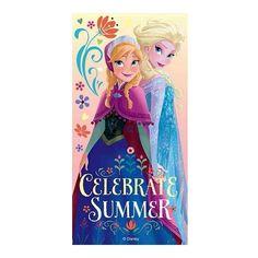 Badlaken Frozen Elsa en Anna 70 x 140 cm voor kinderen. Strandlaken met Elsa en Anna uit Disney Frozen. Formaat: ongeveer 70 x 140 cm.