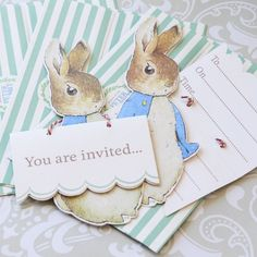 These Peter Rabbit party invitations are a great way to get your baby shower guests in the mood for a garden party!