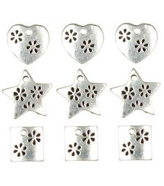 Jewelry Basics Metal Charms 9/Pk-Silver Heart/Star/Square