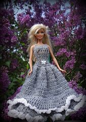 Ravelry: Gorgeous in Grey Spring Dress. Fits Barbie Dolls. Comes with Bonus Hat Pattern pattern by Jennifer Gregory  $3.99 CAD