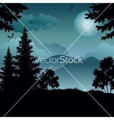 Landscape trees moon and mountains vector 1779914 - by oksanaok on VectorStock®