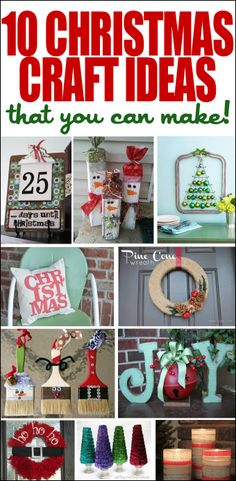 10 Christmas Craft Ideas. LOVE the Santa wreath!