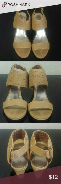 Ankle Cuff Suede Wedge Sandals Size 10 Tan colored suede wedges with beautiful crocheted designed ankle cuff. Adjustable buckle closure on side. 2.5in. Wedged heel. Minimal signs of being preloved. Good condition. Size 10 Cato Shoes Wedges