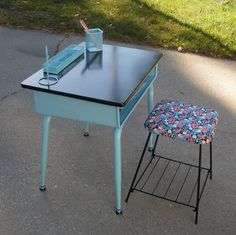 Upcycled School desk - this is similar style to mine. I'm doing legs in silver & top part in black.