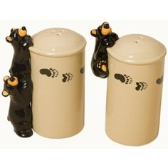 Amazon.com: Bearfoots Bears Curious Cubs Salt & Pepper Shaker Set, 50058: Home & Kitchen Rustic Flatware, Rustic Dinnerware, Black Bear Decor, Black Forest Decor, Whiskey Barrel Table, Cabin Crafts, Rustic Kitchen Decor, Rustic Decor, Cabin Kitchens