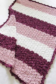 This free crochet blanket pattern features a unique lace stitch and a gorgeous picot border. The easy step by step tutorial is suitable even for beginners. This afghan looks luxurious in chunky Bernat Velvet yarn. Make one for you or for your baby. Crochet Quilt Pattern, Crochet Blanket Tutorial, Easy Crochet Blanket, Crochet Square Patterns, Crochet Yarn, Free Crochet, Crochet Blankets, Baby Blankets, Free Knitting